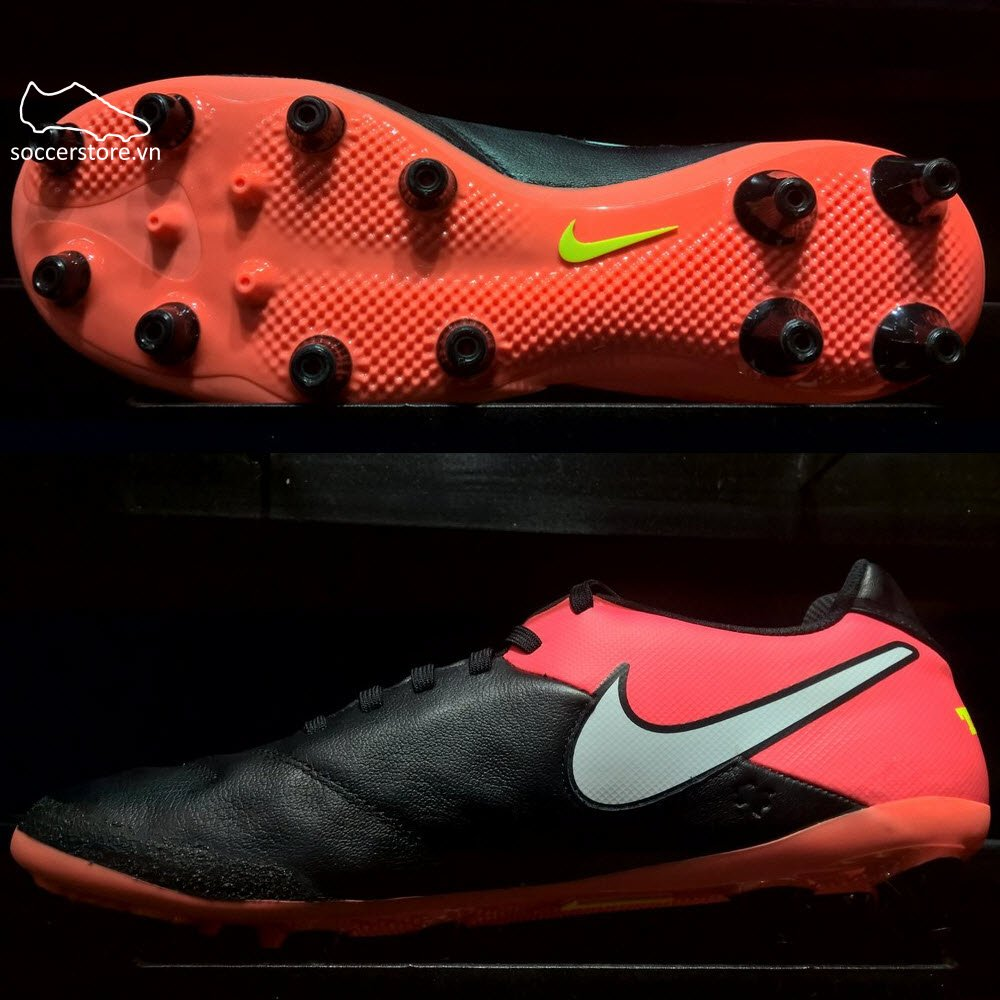 Nike Tiempo Genio II Leather AG Pro- Black/ White/ Hyper Orange/ Volt 844399-018
