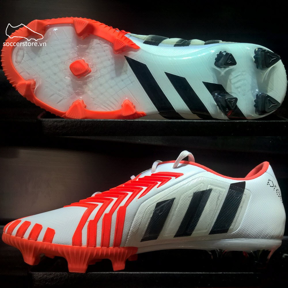 Adidas Predator Instinct FG- White/ Core Black/ Solar Red B24149