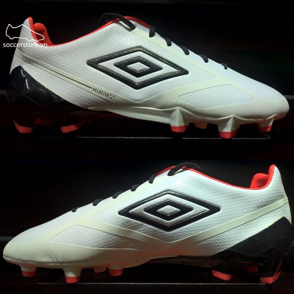 Umbro Velocita II Pro FG/HG- White/ Black/ Fiery Coral