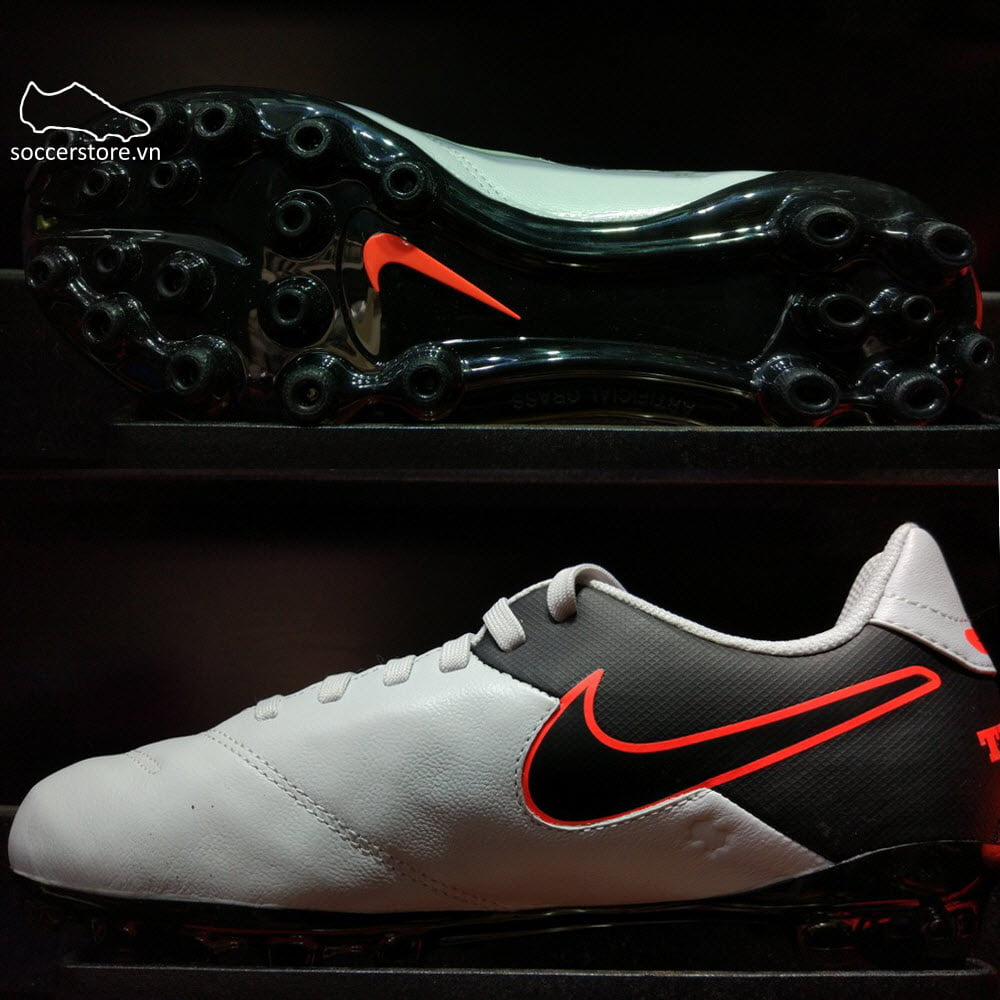 Nike Tiempo Legend VI Kids AG- Pure Platinum/ Black/ Hyper Orange 833676-001
