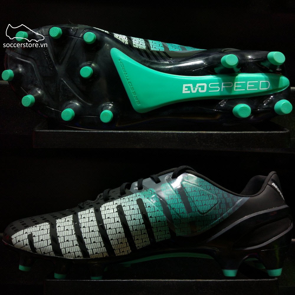 Puma evoSPEED 1.3 FG- Black/ White/ Turbulence/ Pool Green 103008-01