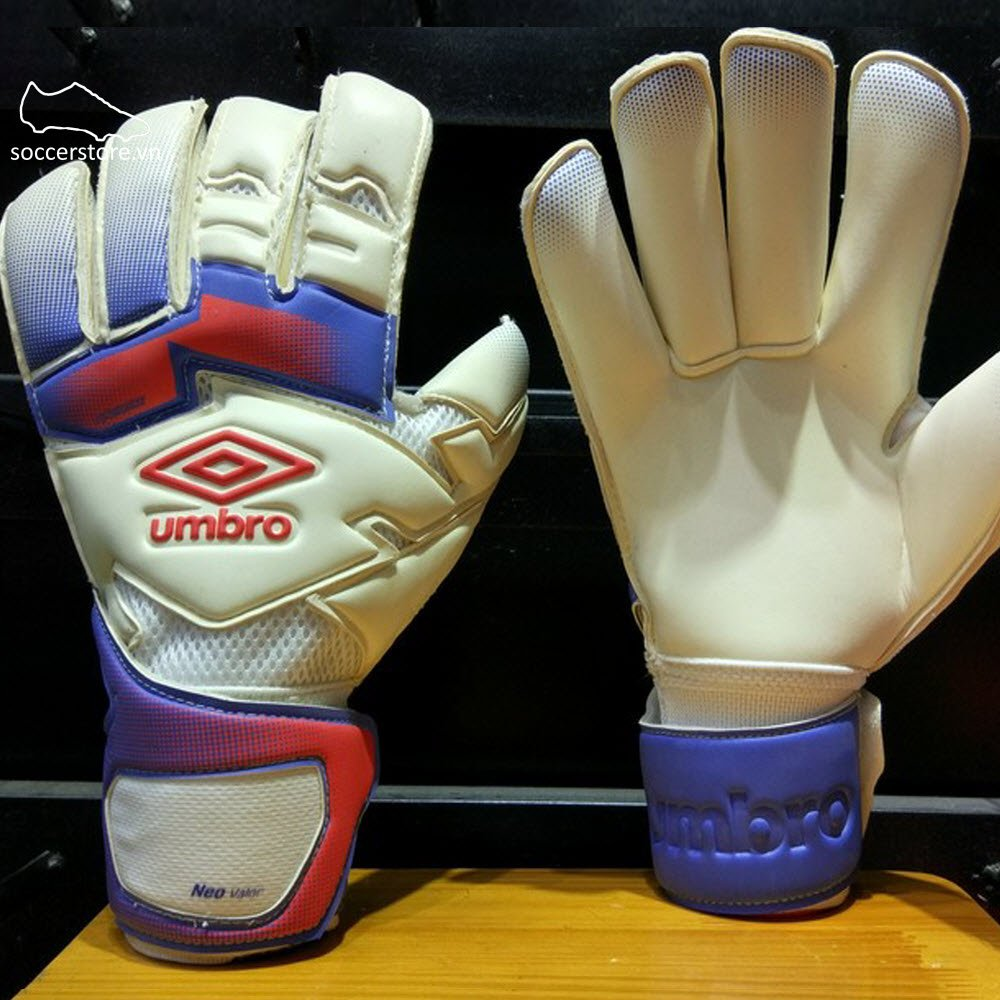Umbro Neo Valor- White/ Fiery Coral/ Dazzling Blue GK Gloves 20738U-DR7