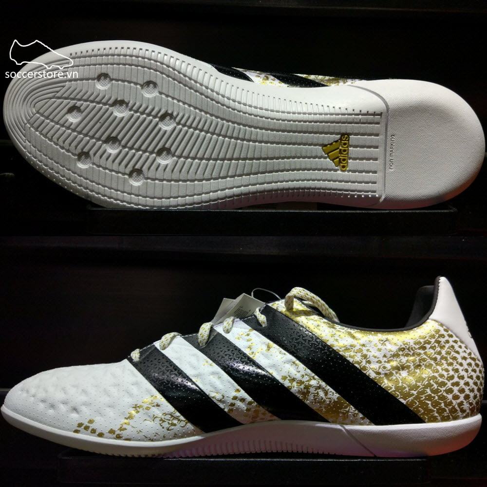 Adidas Ace 16.3 IC- White/ Core Black/ Gold Metallic S31951