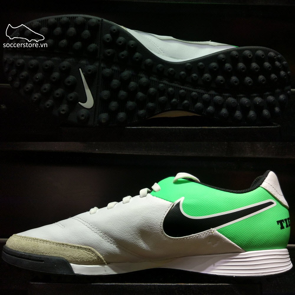 Nike Tiempo Genio II Leather TF- White/ Black/ Electro Green 819216-103