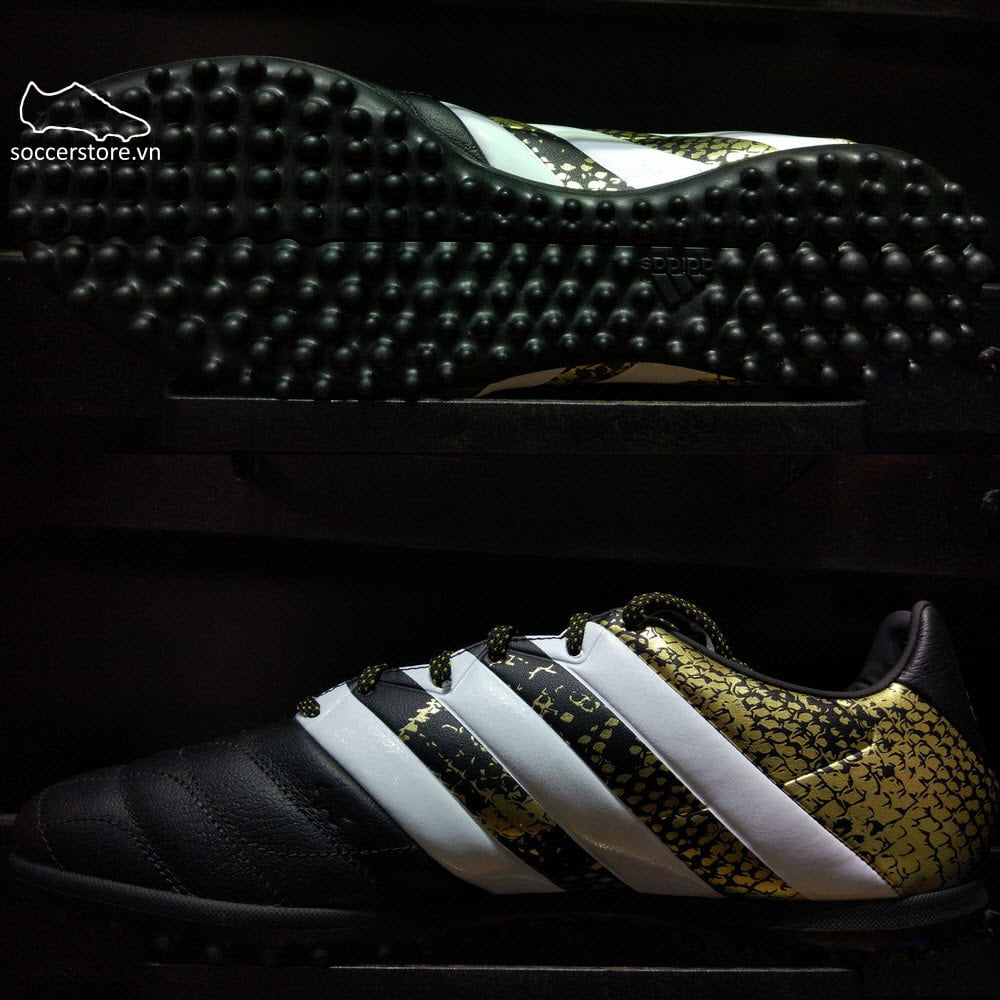 Adidas Ace 16.3 TF Leather- Core Black/ White/ Gole Metallic AQ2070