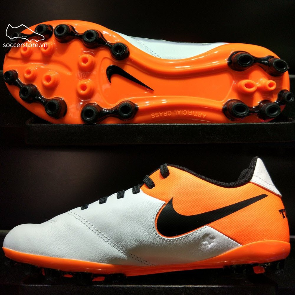 Nike Tiempo Legend VI Kids AG- White/ Black/ Total Orange 833676-108