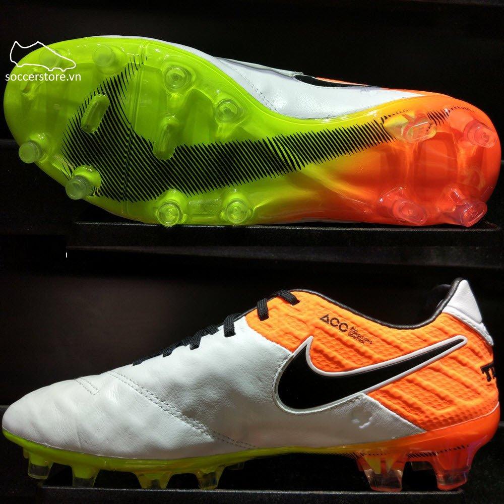 Nike Tiempo Legend VI FG- White/ Black/ Total Orange 819177-109