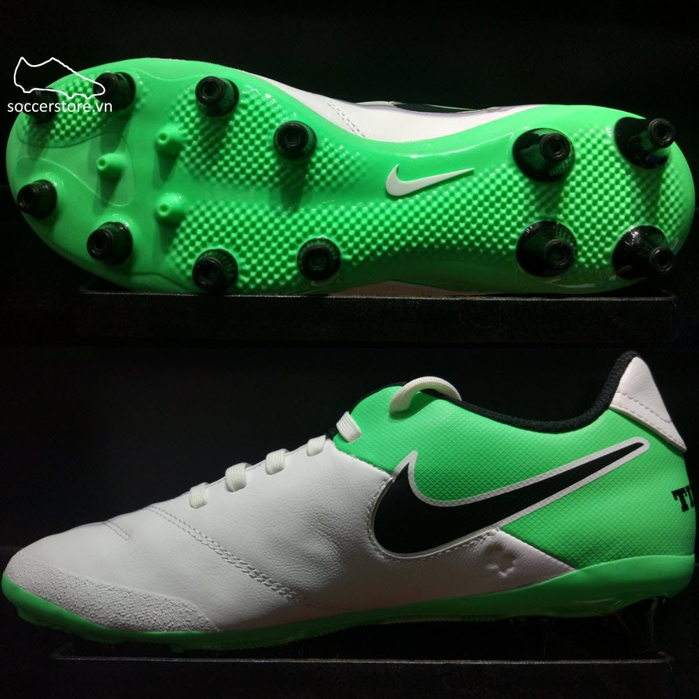 Nike Tiempo Genio II Leather AG-Pro- White/ Black/ Electro Green 844399-103