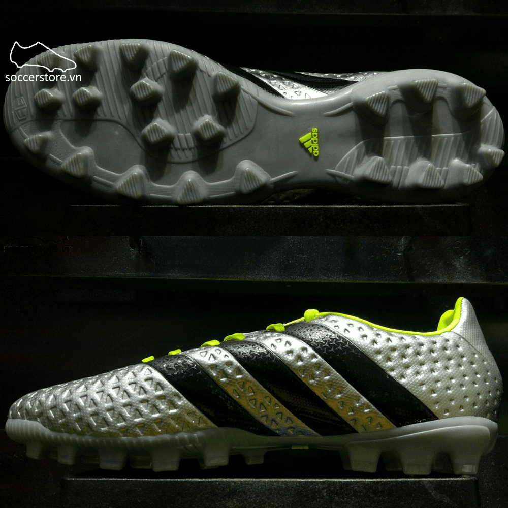 Adidas Ace 16.4 AG- Silver Metallic/ Core Black/ Solar Yellow BB3779