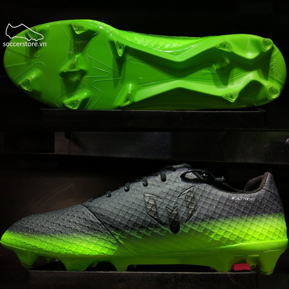 Adidas Messi 16.1 FG/AG- Dark Grey/ Silver Metallic/ Solar Green S79625