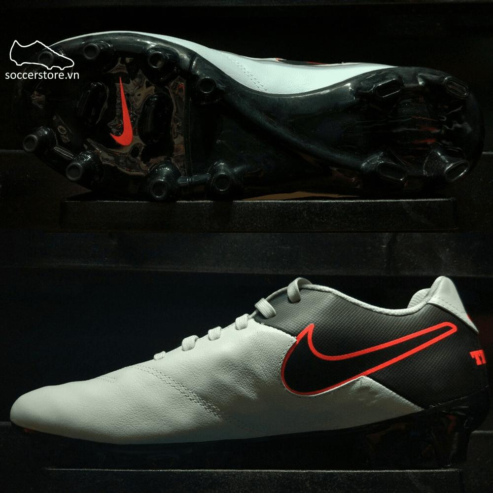 Nike Tiempo Genio II Leather FG- Pure Platinum/ Black/ Hyper Orange 819213-001