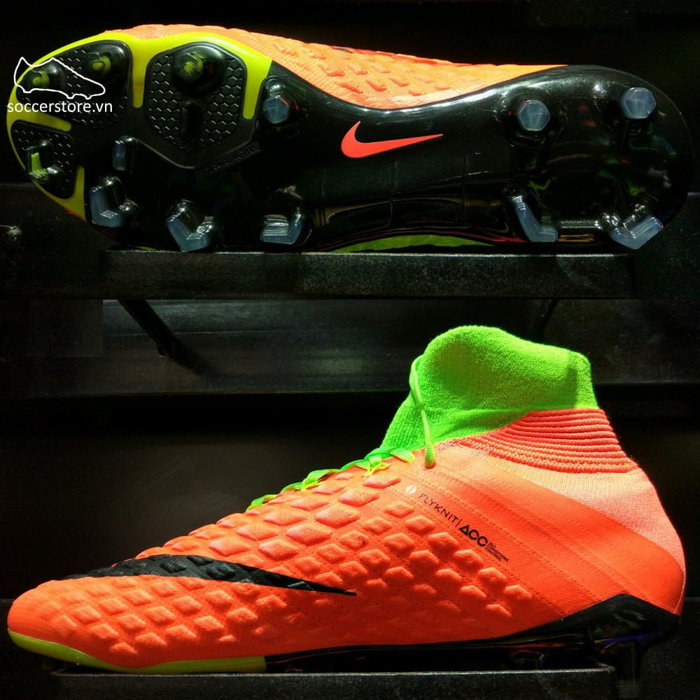 Nike Hypervenom Phantom III DF FG- Electric Green/ Black/ Hyper Orange 860643-308