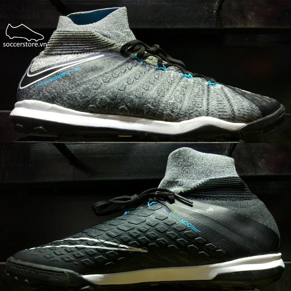 Nike HypervenomX Proximo II DF TF- Wolf Grey/ Black/ Chlorine Blue 852576-004