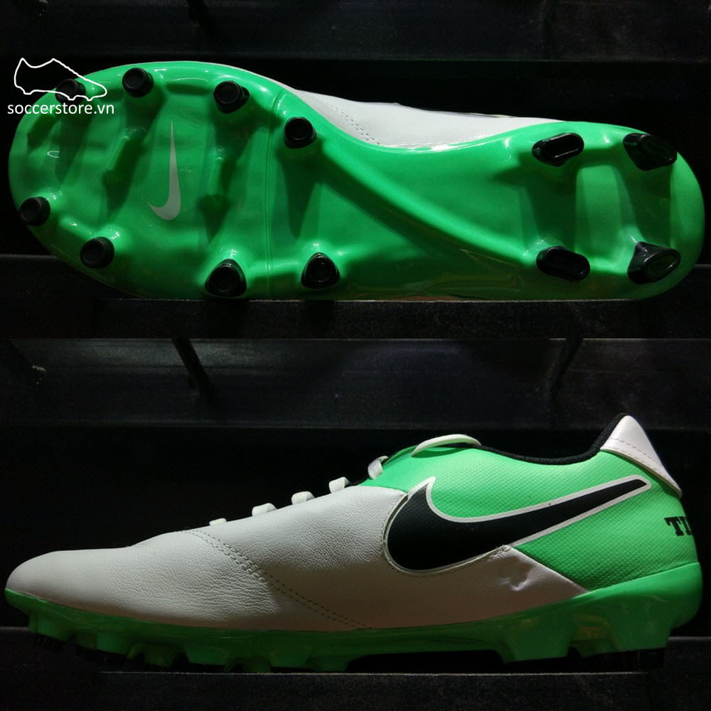 Nike Tiempo Genio II Leather FG- White/ Black/ Electro Green 819213-103