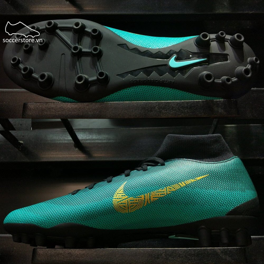 Nike Mercurial SuperflyX VI Academy CR7 AG-R - Clear Jade/ Metallic Vivid Gold/ Black AO9266-390
