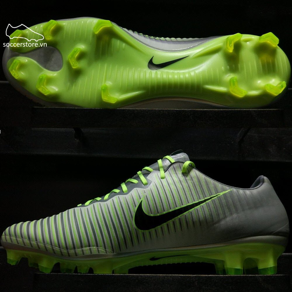 Nike Mercurial Vapor XI FG- Pure Platinum/ Black/ Ghost Green 831958-003