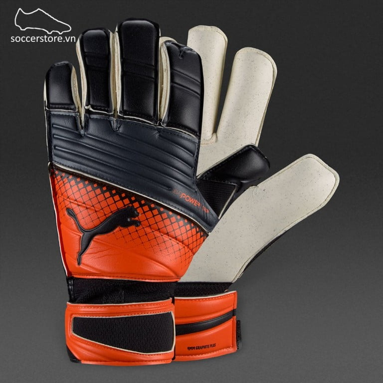 Puma evoPOWER 2.3 Grip GC- Puma Black/ Orange Clownfish GK Gloves 04133702M