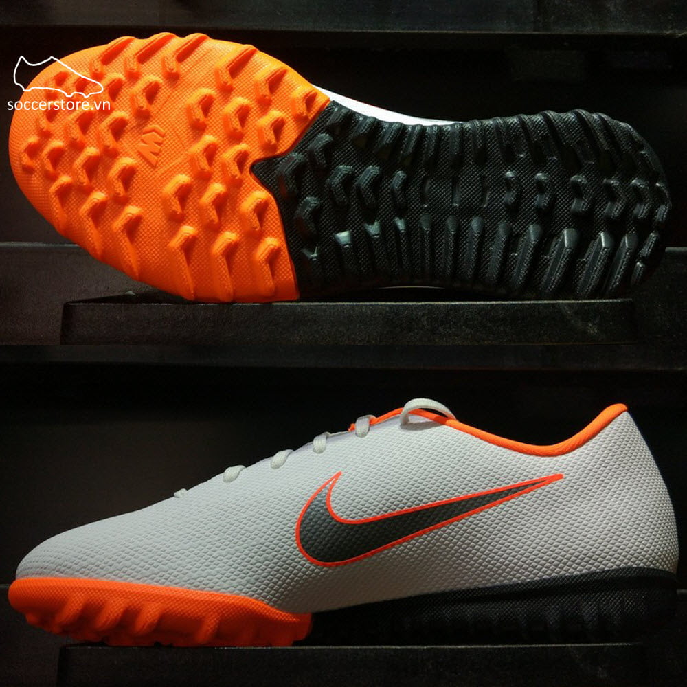 Nike Mercurial VaporX XI Academy Kids TF- White/ Metallic Cool Grey/ Total Orange AH7342-107