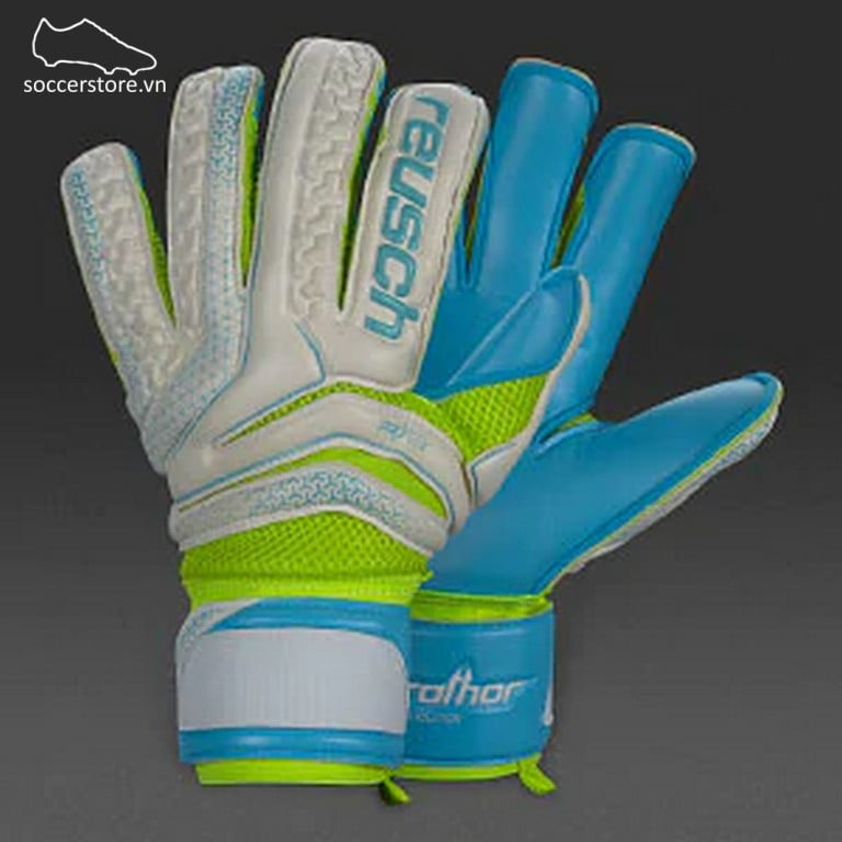 Reusch Serathor Prime S1 Evolution- White/ Aqua/ Safety Yellow GK Gloves 3770239-111
