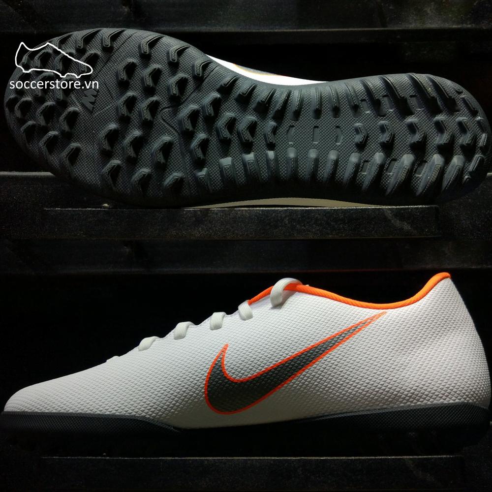 Nike Mercurial Vapor XII Club TF- White/ Metallic Cool Grey/ Total Orange AH7386-107