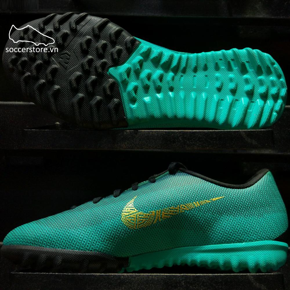 3796270d6e75 Nike Mercurial VaporX XII Academy CR7 Kids TF- Clear Jade/ Metallic Vivid  Gold/ Black AJ3100-390