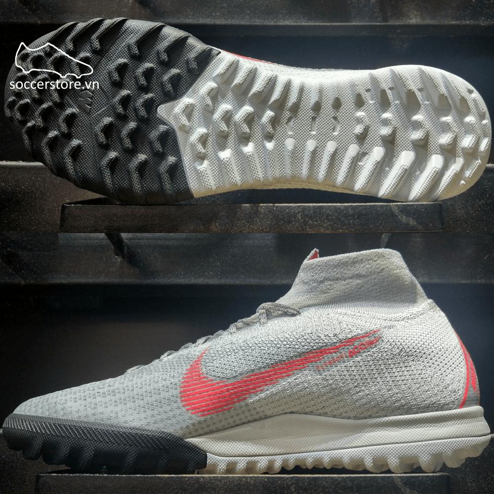 Nike Mercurial SuperflyX VI Elite TF- Grey/ Crimson/ Platinum AH7374-060