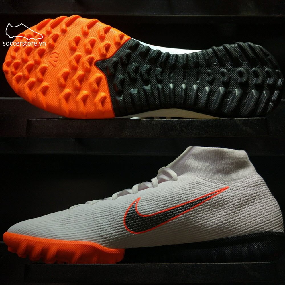 Nike Mercurial SuperflyX VI Academy Kids TF - White/ Metallic Cool Grey/ Total Orange AH7344-107
