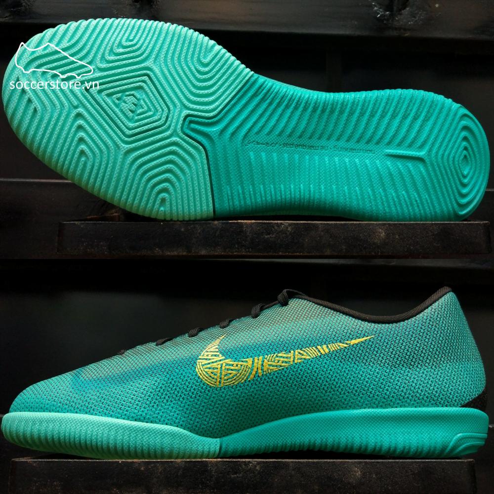 Nike Mercurial VaporX XII Academy Kids CR7 IC- Clear Jade/ Metallic Vivid Gold/ Black AJ3099-390