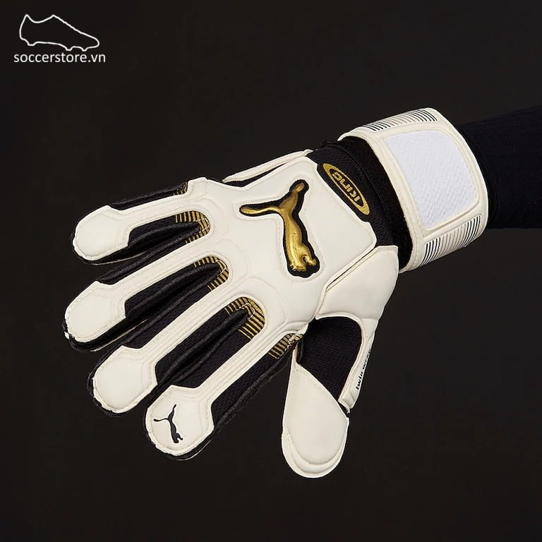 Puma King XL RC Flat Palm - White/ Black/ Gold GK Gloves 040446-01