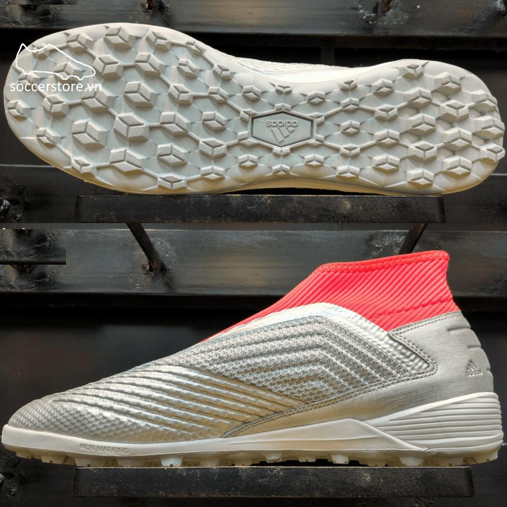 Adidas Predator 19.3 Laceless TF- Silver Metallic/ Core Black/ Red G27941