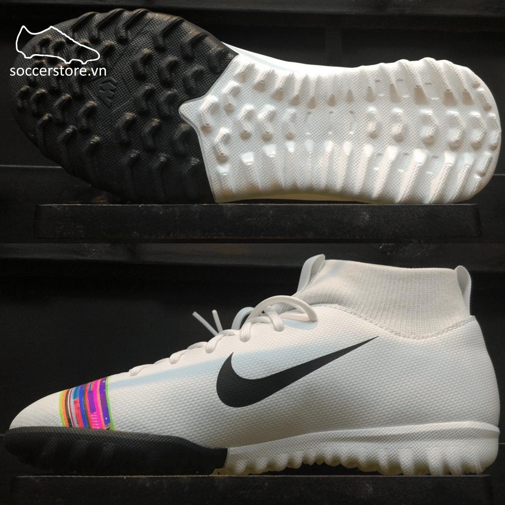 Nike Mercurial Superfly VI Academy Kids TF - White/ Black/ Pure Platinum AJ3112-109