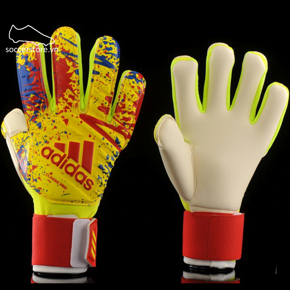 Adidas Classic Pro GK Gloves - Solar Yellow/ Active Red/ Football Blue DT8745