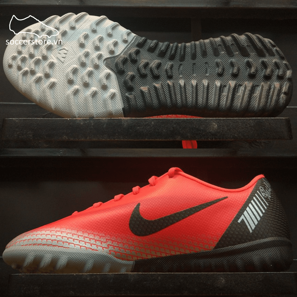 Nike Mercurial Vapor XII Academy CR7 Kids TF- Bright Crimson/ Black/ Chrome/ Dark Grey AJ3100-600