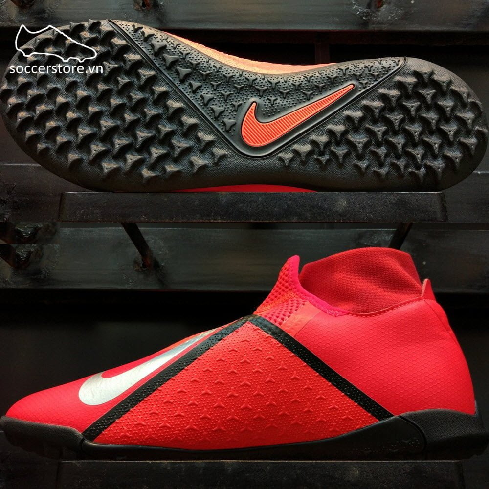Nike Phantom VSN Academy DF TF - Bright Crimson/ Metallic Silver AO3269-600