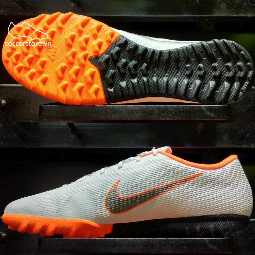 Nike Mercurial VaporX XII Academy TF- White/ Metallic Cool Grey/ Total Orange AH7384-107