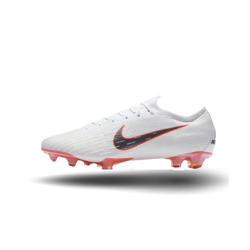 Nike Mercurial Vapor XII Elite FG – White/ Metallic Cool Grey/ Total Orange- AH7380-107