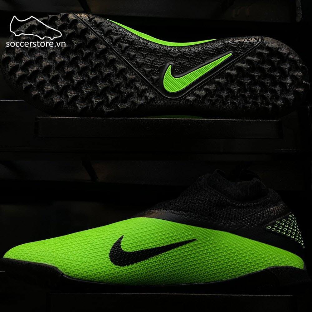 Giày bóng đá Nike Phantom VSN React II Pro DF TF- Black/ Platinum/ Green Strike CD4174-036