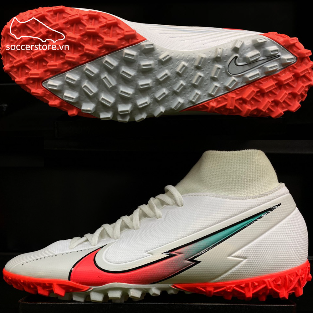 Nike Mercurial Superfly VII Acadeny TF- White/ Flash Crimson/ Photon Dust AT7978-163
