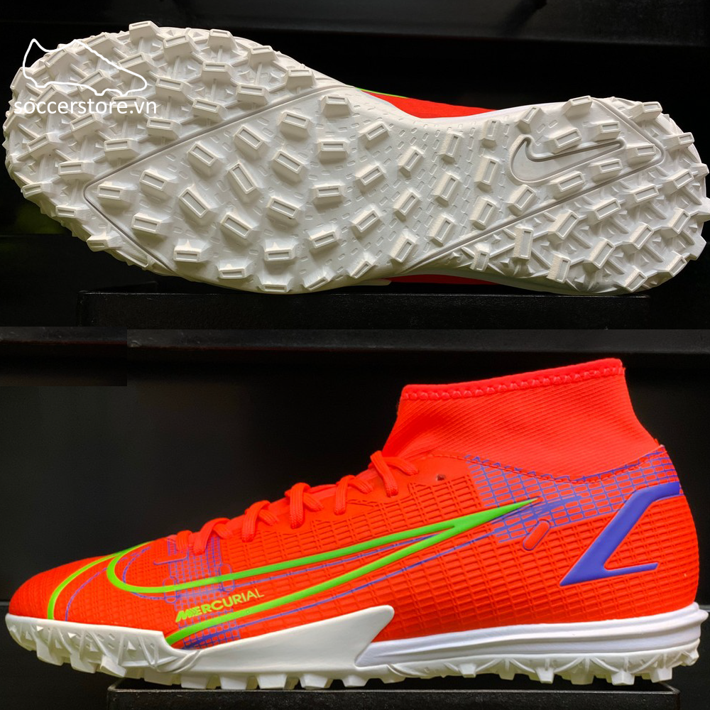 Nike Mercurial Superfly 8 Academy TF Spectrum - Bright Crimson / Metallic Silver CV0953-600